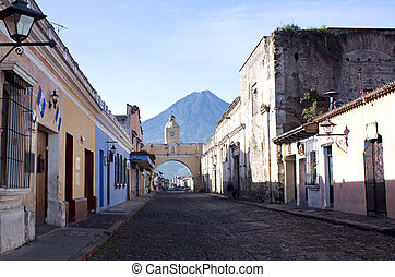 Santa Catalina arch, Antigua, Guatemala, horizontal composition