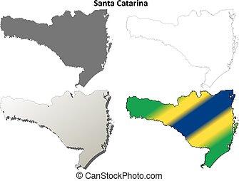 Santa Catarina detailed vector blank outline map set