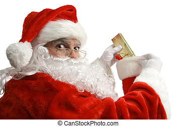 Santa Caught In Act - Santa is surprised as he is caught in...