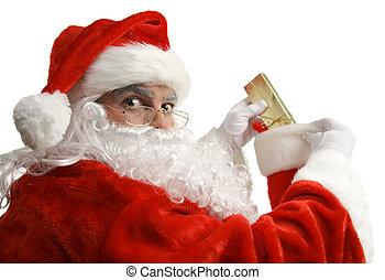 Santa Caught In Act - Santa is surprised as he is caught in...