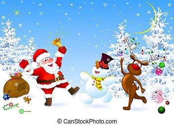 santa, cerf, bonhomme de neige, noël, célébrer