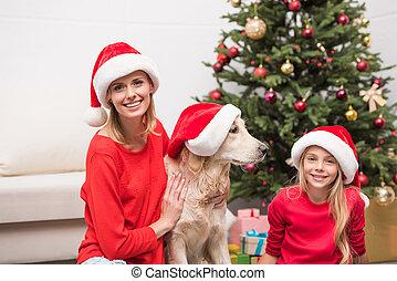 santa, chapeaux, chien, famille