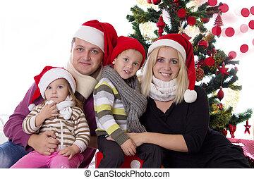 santa, chapeaux, deux, famille, enfants