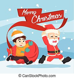 santa chased by a kid