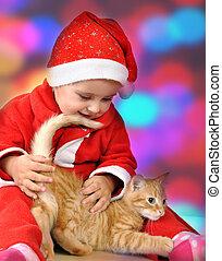 santa, chaton, petit, girl, chapeau, jouer, rouges, heureux
