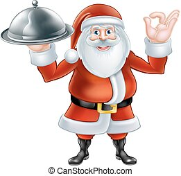Santa Chef Christmas Dinner - Happy cartoon Christmas Santa...