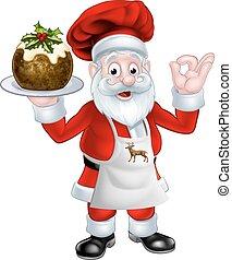 Santa Chef Holding a Christmas Pudding