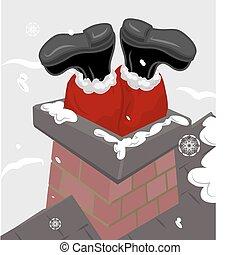 santa chimney illustration - Santa claus stuck in a chimney.
