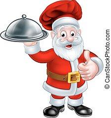 Santa Christmas Chef Holding Plate of Food