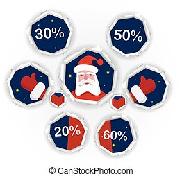 Santa christmas discount concept - Holes in the paper with...
