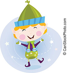 Santa christmas elf - Cute christmas elf in green costume. ...