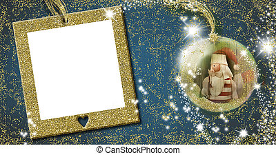 Christmas frame greeting card. Santa Claus old doll inside xmax ball on blue background with empty gold frame for write message or put photo.