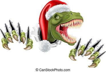 Santa Christmas Hat T Rex Dinosaur - A T Rex dinosaur...