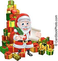 Santa Christmas List Scene