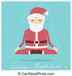 Santa christmas meditation.Vector holiday illustration