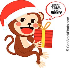 Santa Christmas Monkey