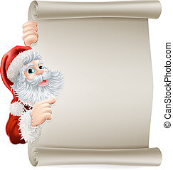 Santa Christmas poster of Santa cartoon character pointing sideways at a poster sign