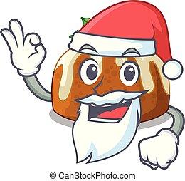 Santa christmas pudding isolated on the mascot