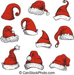 Santa christmas red hats set