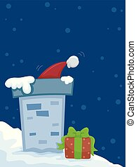 Santa Christmas Rooftop Illustration