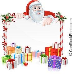 Santa Christmas Sign with cartoon Santa peeking over a sign...