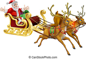 Illustration of Santa Claus in his Christmas sled being pulled by red nosed reindeer