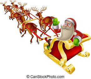 Santa Christmas Sleigh - Cartoon Santa in his Christmas...