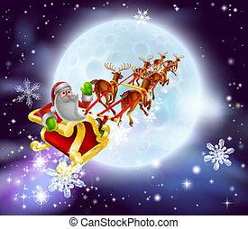 Santa Christmas Sleigh Moon - Christmas cartoon illustration...