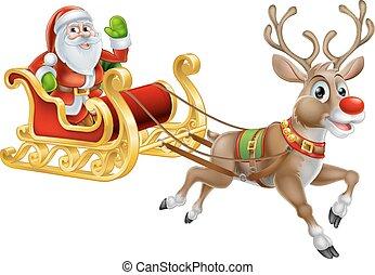 Santa Christmas Sleigh Sled - An illustration of Santa Claus...