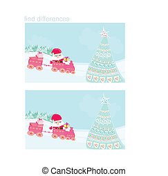 Santa Christmas Train - find differences