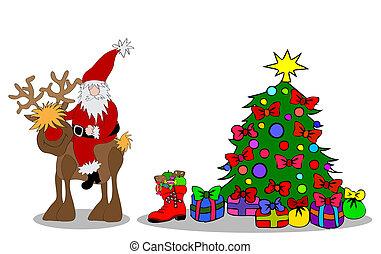 santa claus, árbol de navidad