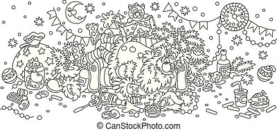 Father Christmas is slightly drunk and sleeping on his couch in a scary mess, black and white outlined vector illustration in a cartoon style to print on a cup
