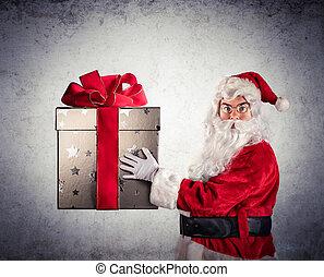 Santa Claus Amazed Holding present