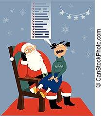 Santa Claus and a greedy child - Greedy girl sitting on ...