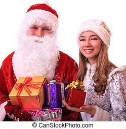 Santa Claus and a Snowmaiden with gifts.