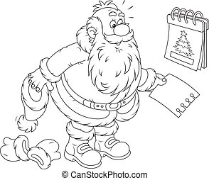 Santa Claus and a tear-off calendar - Father Christmas...