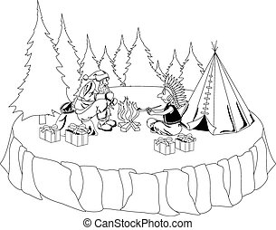 Santa Claus and American Indian chief - Santa Claus sits by...