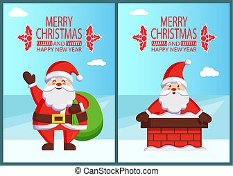 Santa Claus and Bag with Gifts Vector Illustration - Merry...