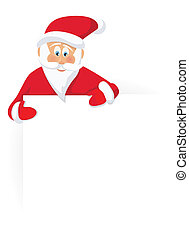 Santa Claus and blank sign