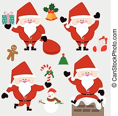 Santa claus and christmas accessories