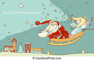 Santa Claus and christmas angel