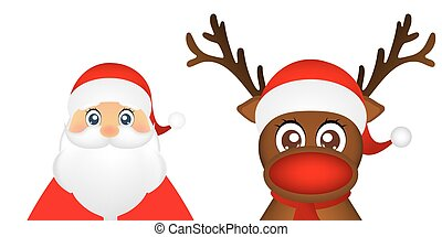 Santa Claus and Christmas reindeer are standing on a white...