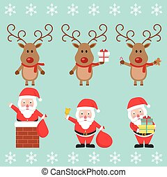 Santa Claus and Christmas reindeer. Funny cartoon character. Vector illustration. Isolated on white background. Set