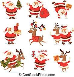 Santa Claus and Christmas reindeer. Funny cartoon character....