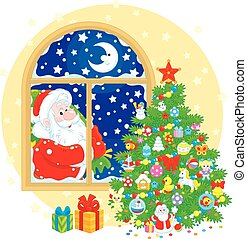 Santa Claus and Christmas tree - Father Christmas with his ...