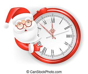 Santa Claus and clock