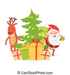 Santa Claus and Deer near Decorated X-mas Tree