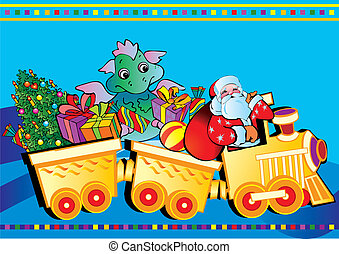 Santa Claus and dragon with gifts.