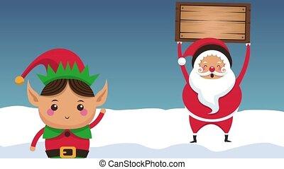 Santa claus and elf cartoon HD animation - Santa claus and...
