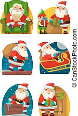 Santa Claus and elf.